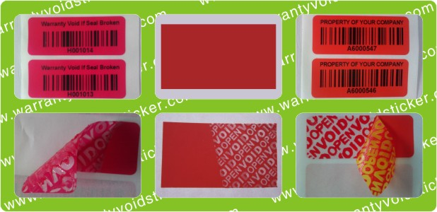 Red Tamper Evident VOID Polyester Stickers